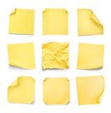 黄色贴纸的汇集与卷曲的 库存图片