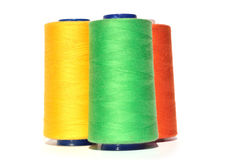 绿色黄色和橙色螺纹 库存照片