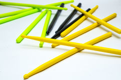 黄绿色黑色鼓槌 免版税图库摄影