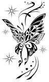 黑色蝴蝶例证查出对象纹身花刺向量白色 免版税库存图片