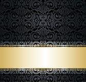 黑色&金葡萄酒装饰墙纸设计 向量例证