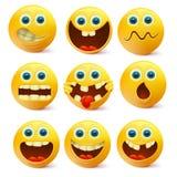 黄色兴高采烈的面孔 Emoji字符模板 图库摄影