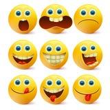 黄色兴高采烈的面孔 Emoji字符模板 库存照片