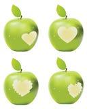 绿色Apple叮咬 库存图片