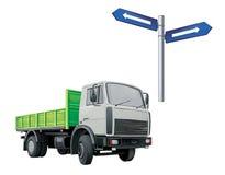 绿色Autotruck,卡车,路标 库存图片