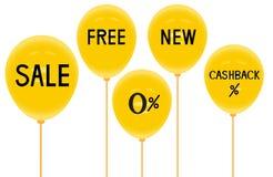 黄色baloons和折扣,广告的,传染媒介例证用途 免版税库存照片