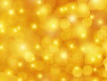 黄色Bokeh和星背景 免版税库存照片