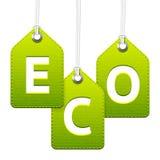 绿色eco垂悬的标记 免版税库存照片