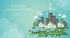 绿色eco城市和能承受的建筑学横幅 库存图片