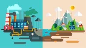 绿色eco城市死生态概念 新的能源 免版税库存照片