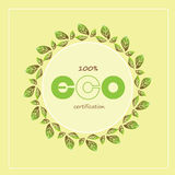 绿色eco标签和徽章 也corel凹道例证向量 免版税库存图片