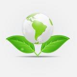 绿色eco行星概念传染媒介例证 免版税库存图片