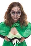 绿色gobling的女孩,白色、概念爱尔兰和神仙的 免版税库存图片