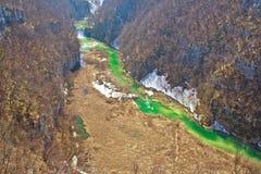 绿色Korana河峡谷鸟瞰图 库存图片