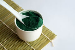 绿色spirulina粉末 库存图片