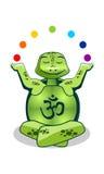 绿色turlte瑜伽 免版税库存照片