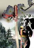 艺妓、katana和塔 库存图片