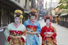 艺妓妇女在京都,日本 免版税库存照片