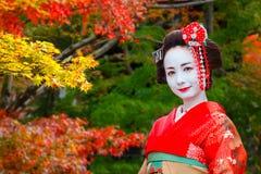 艺妓- Maiko在Gion区在京都,日本 库存图片