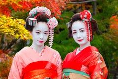 艺妓- Maiko在Gion区在京都,日本 图库摄影