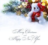 艺术与一棵欢乐装饰品和杉树的圣诞节背景 库存图片