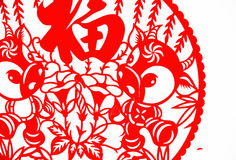 艺术中国人剪切纸张 库存图片