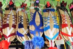 艺术中国民间凉鞋秸杆 库存图片