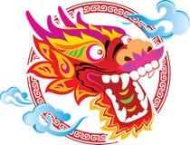 艺术中国颜色设计龙题头 免版税库存照片