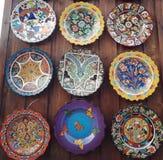 艺术五颜六色的板材 免版税库存照片
