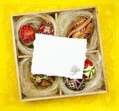 艺术传统看板卡d复活节的问候 库存照片