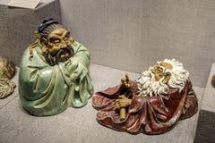 艺术作品由陶瓷雕塑制成在广东、夫斯汉和石湾 免版税库存图片