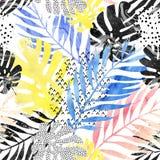 艺术例证:时髦热带叶子用水彩难看的东西大理石纹理,乱画元素背景填装了 库存照片