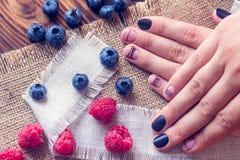 艺术修指甲和莓果 图库摄影