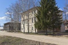 艺术儿童学校的大厦在村庄Verkhovazhye沃洛格达州地区,俄罗斯 图库摄影