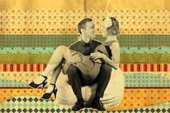 艺术减速火箭拼贴画的夫妇 免版税库存照片