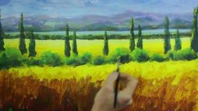 艺术创造性的过程 艺术家创造在帆布的绘画 影视素材