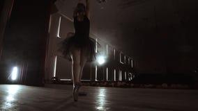 艺术和娱乐在有女性经典舞蹈家的剧院芭蕾舞短裙的,在幕后站立和看摊位 影视素材