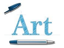 艺术和球笔 库存图片