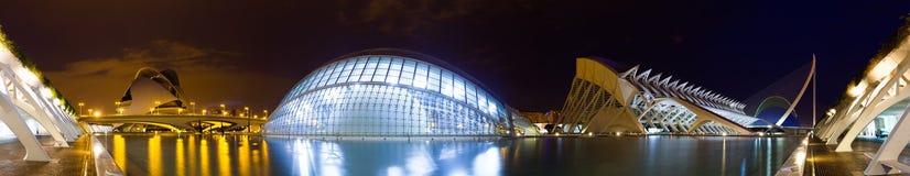 艺术和科学城市全景。巴伦西亚,西班牙 免版税图库摄影