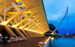 艺术和科学城市在夏夜 巴伦西亚 免版税图库摄影