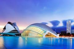 艺术和科学城市在黄昏 西班牙巴伦西亚 免版税库存图片