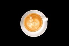 艺术咖啡杯latta叶子 免版税图库摄影