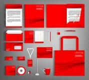 艺术品企业公司本体模板向量 红色设置与波浪线 皇族释放例证