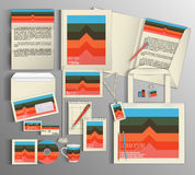 艺术品企业公司本体模板向量 设置与五颜六色的设计 库存例证