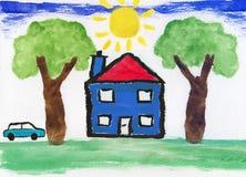艺术品儿童的教育绘画 免版税库存照片