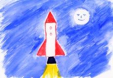 艺术品儿童的绘画火箭 库存照片