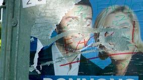 艺术品破坏者损坏的政治候选人的面孔 股票视频