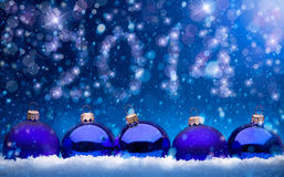 艺术圣诞节和新年2014年贺卡 免版税库存照片