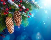 艺术圣诞节多雪的结构树 免版税库存图片