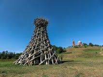 艺术在俄罗斯的卡卢加州地区的科列夫Lenivets村庄反对 免版税库存图片